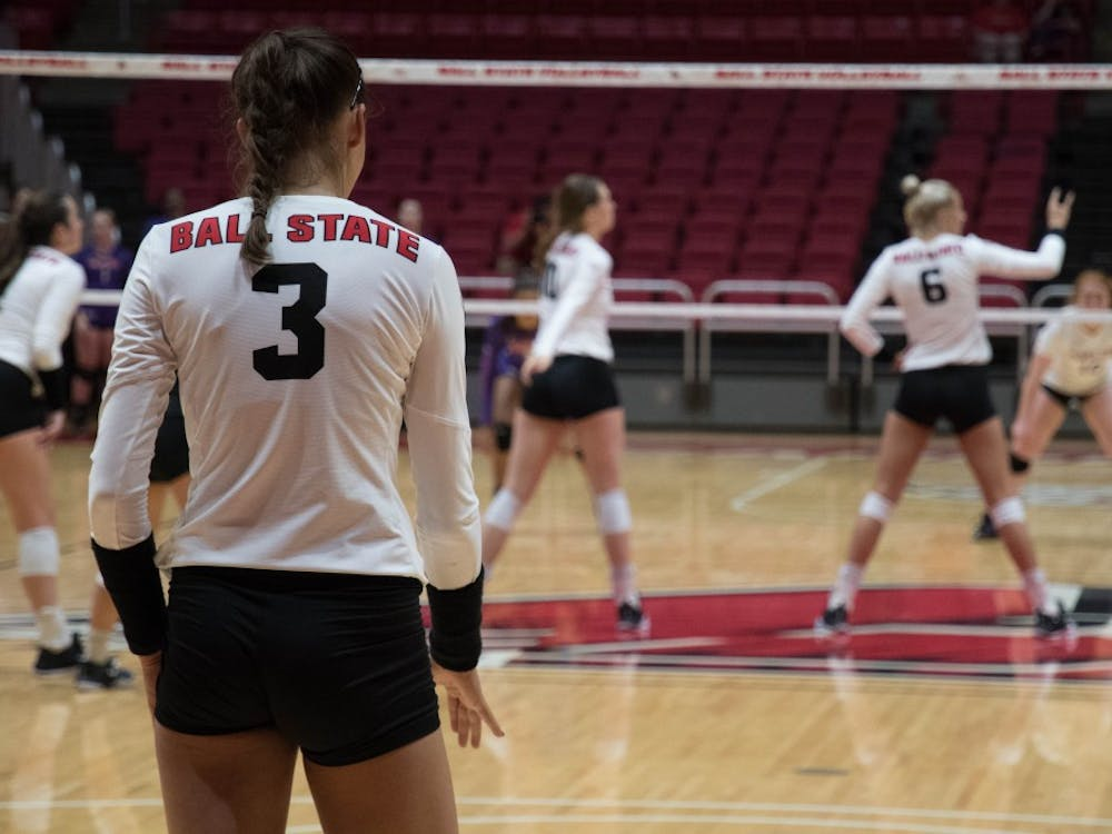 Junior outside hitter Brooklyn Goodsel prepares to serve the ball at the game against Evansville on Sept.14 at John E. Worthen Arena. Goodsel had one ace and one assist. Emily Coats, DN