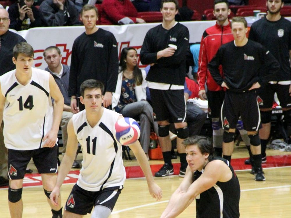 Libero Adam Wessel passes the ball during the Cardinals' match against McKendree on Feb. 4 in Worthen Arena. Ball State won 3-0. Paige Grider // DN