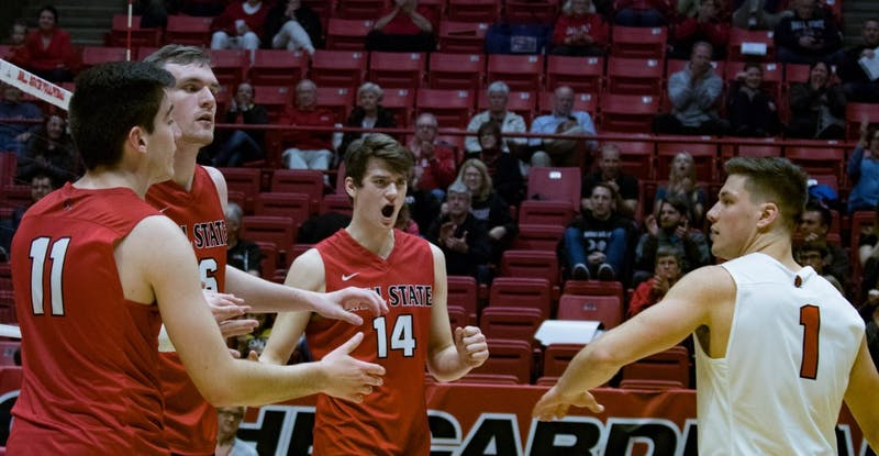 Ball State Cardinals cheer after winning a volley in the fourth game against Lindenwood on March 30 at John E. Worthen Arena. Ball State won 3 of the 5 games. Rebecca Slezak, DN