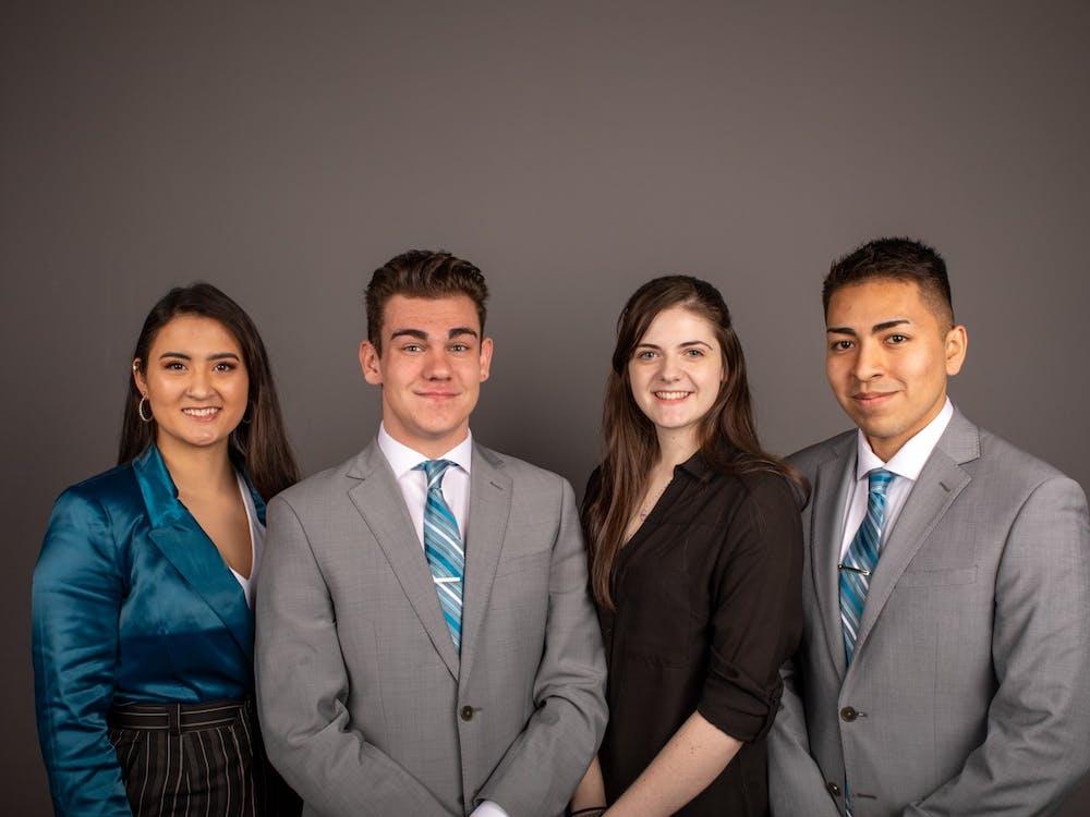 (From left to right) Candidates of Aureum slate Miryam Bevelle president, Dylan Lewandowski, vice president, Mariah Bowman, secretary, Hugo Madrigal, treasurer. Jacob Musselman, DN