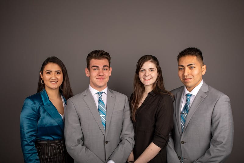 (From left to right) Candidates of Aureum slate Miryam Bevelle president, Dylan Lewandowski, vice president, Mariah Bowman, secretary, Hugo Madrigal, treasurer. Jacob Musselman, DN