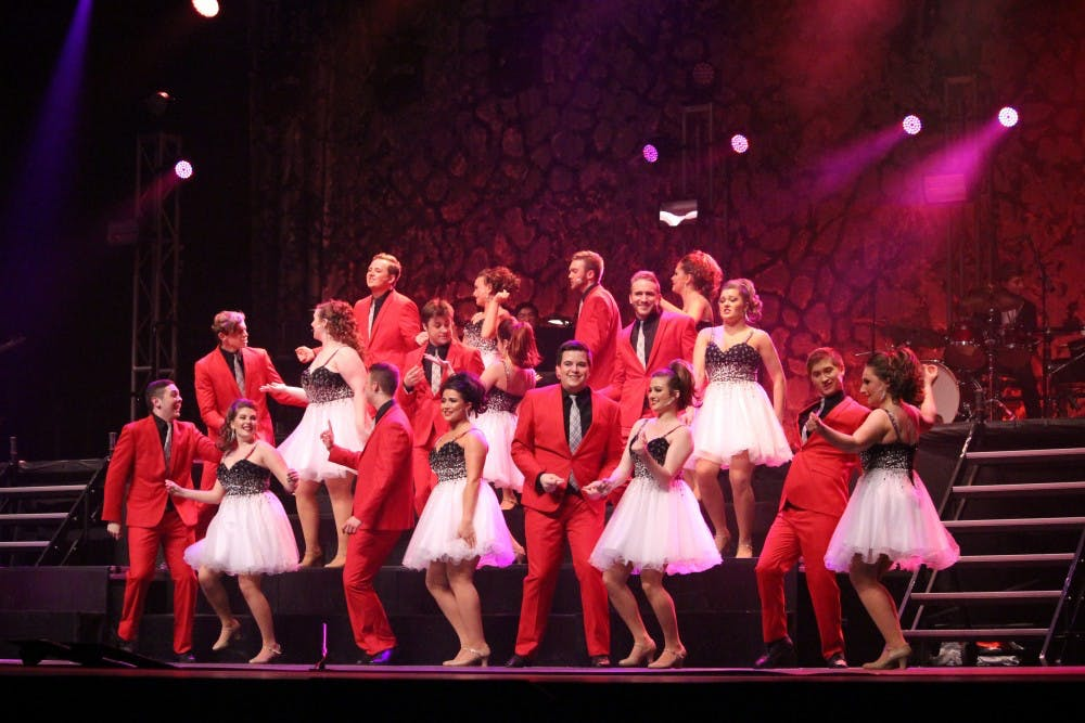 <p>The Ball State University Singers performed in the 53rd Annual Spectacular in John R. Emens Auditorium on April 7, 2017. <strong>Alicia M. Barnachea, DN</strong></p>