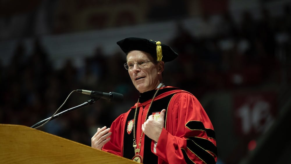 Ball State President Geoffrey Mearns speaks to the new graduates Dec. 14, 2019, at the John E. Worthen Arena. Mearns announced in an email May 19, 2020, students can apply for a COVID-19 emergency relief grant, made available by the U.S. Department of Education through the Coronavirus Aid, Relief and Economic Security (CARES) Act passed by Congress March 27. Charles Melton, DN