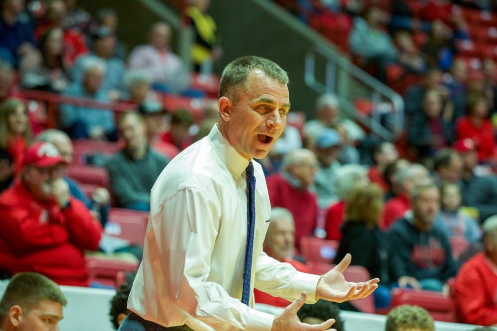 <p>Head Coach James Whitford is upset after a controversial call by the referee against Western Michigan, Feb. 25, 2020, at John E. Worthen Arena. Whitford coached his team to a 71-61 victory. <strong>Omari Smith, DN</strong></p>