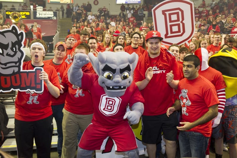 Bradley's mascot, introduced in 2014 after the school went mascot-less for 14 years, makes his NCAA Tournament debut. Even though the team's nickname is Braves, its mascot is a gargoyle, modeled after one of four atop the university. (Duane Zehr/Bradley University/TNS)