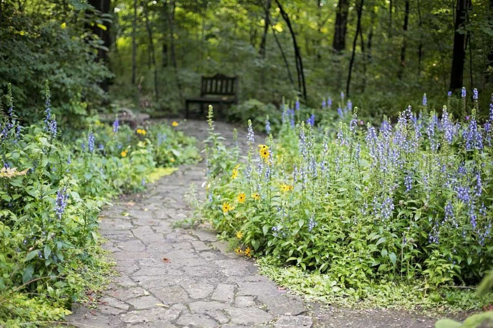 <p><em>Minnetrista practices sustainability throughout its 40 acres of gardens. The non-profit achieves this through multiple efforts, such as planting Indiana native species, shown here in the Oakhurst Gardens. Photo by Kimberly Harris.</em></p>