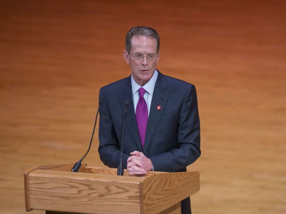 Geoffrey S. Mearns address the crowd for the first time after being named 17th president of Ball State on Jan. 24 in Sursa Hall. Breanna Daugherty // DN