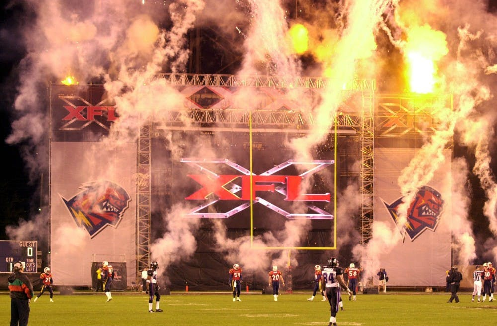 Fireworks explode announcing the start of the XFL season in Orlando, Fla. on Saturday, February 3, 2001. The XFL pro football league is returning in 2020 and will be focused on re-imaging the game of football. (John Raoux/Orlando Sentinel/TNS)