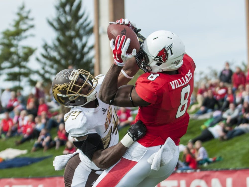 Junior wide receiver Jordan Williams makes the catch during the game against Western Michigan at Scheumann Stadium on Oct. 10. DN PHOTO TAYLOR IRBY