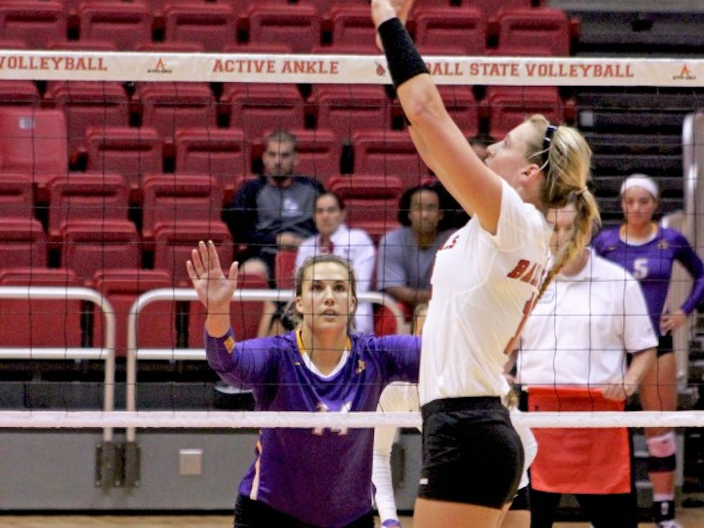 The women's volleyball team played Albany in the first game of the Active Ankle Challenge on Aug. 28 at Worthen Arena.