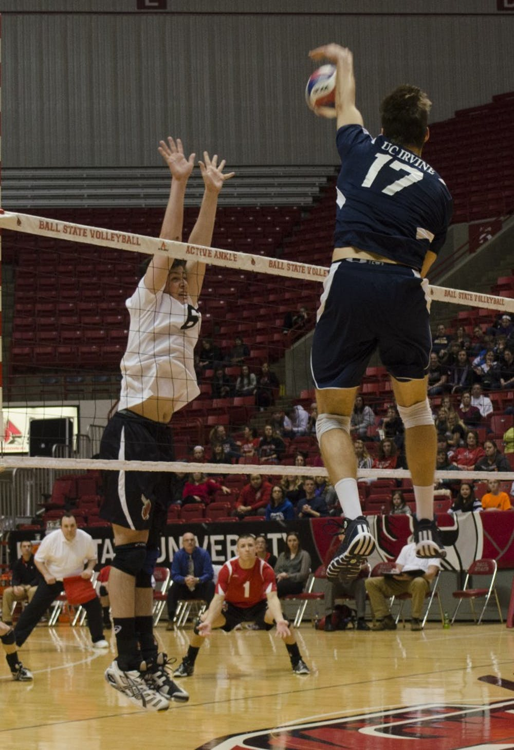 Freshman outside attacker Brendan Surane jumps up to block the ball from UC Irvine player Zach La Cavera at Worthen Arena on Jan. 4. Surane had six kills and six errors in his career debut. DN PHOTO BREANNA DAUGHERTY