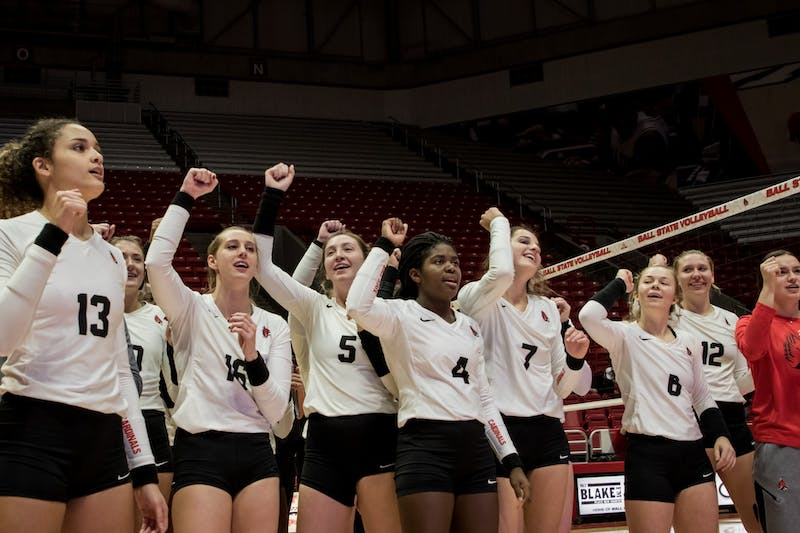 Ball State Women's Volleyball sings its fight song after defeating Central Michigan Nov. 16, 2019, in John E. Worthen Arena. The Cardinals won, 3-1, sending them to the MAC Tournament. Eric Pritchett, DN