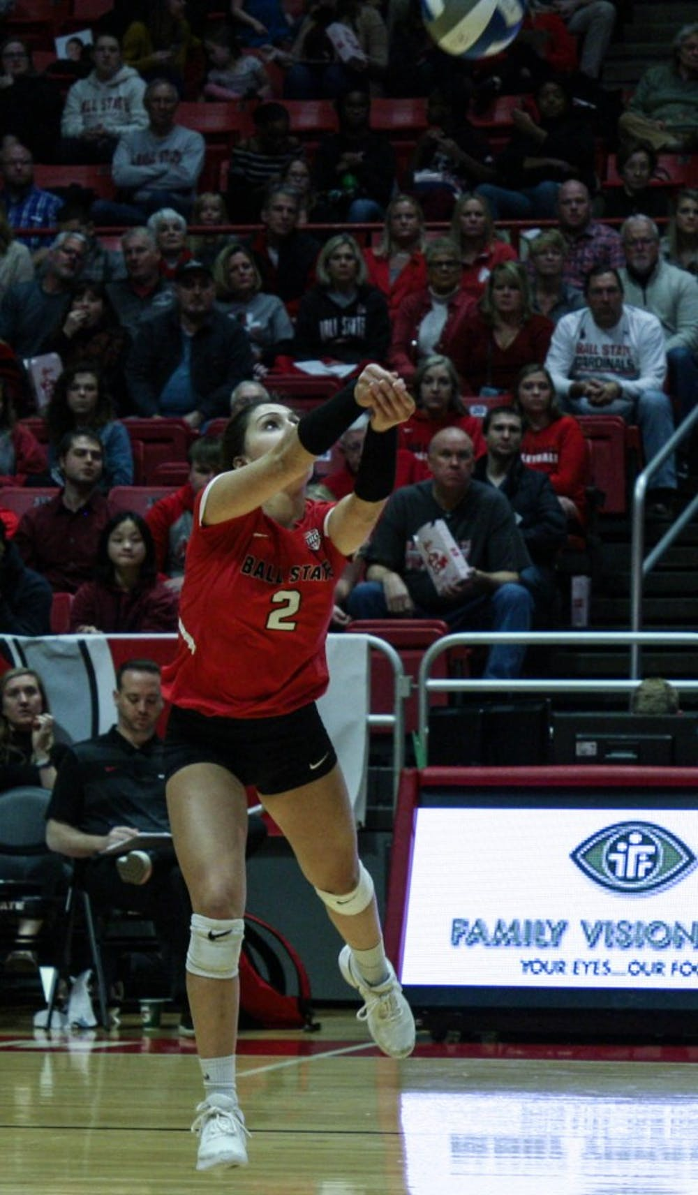 <p>Junior defensive specialist Kate Avila bumps the ball as it comes over the net at the Ball State women's volleyball match versus Akron University Nov.10, 2018 at John E. Worthen Arena. Avila had two assists at the end of the game. <strong>Tailiyah Johnson,DN</strong></p>