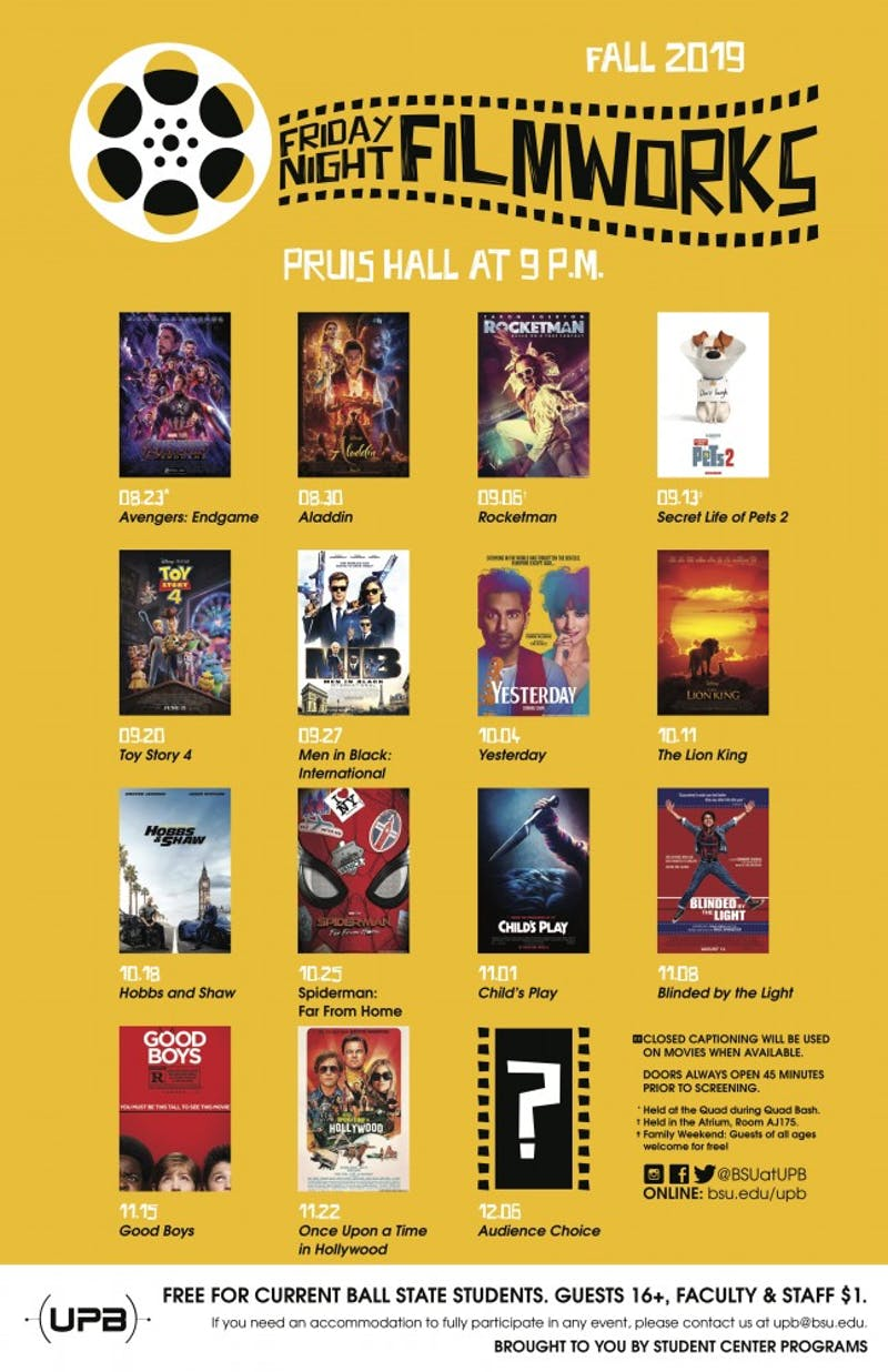 The University Program Board (UPB) has released its movie lineup for the fall 2019 semester. Films will be shown at 9 p.m. on Fridays. University Program Board, Photo Provided.