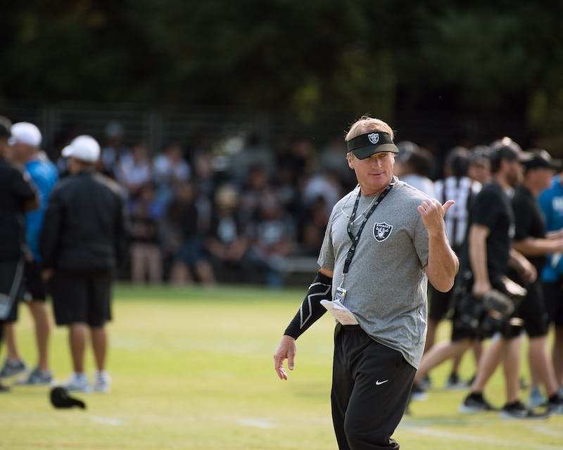 Former Las Vegas Raiders head coach Jon Gruden leads a practice August 7, 2018. Gruden resigned Oct. 11 after the National Football League (NFL) investigation into the Washington Football Team for workplace misconduct found Gruden used homophobic, racist and misogynistic slurs in emails as recently as 2018. Gruden was in his fourth year with the Raiders. Louis Briscese/ US Air Force