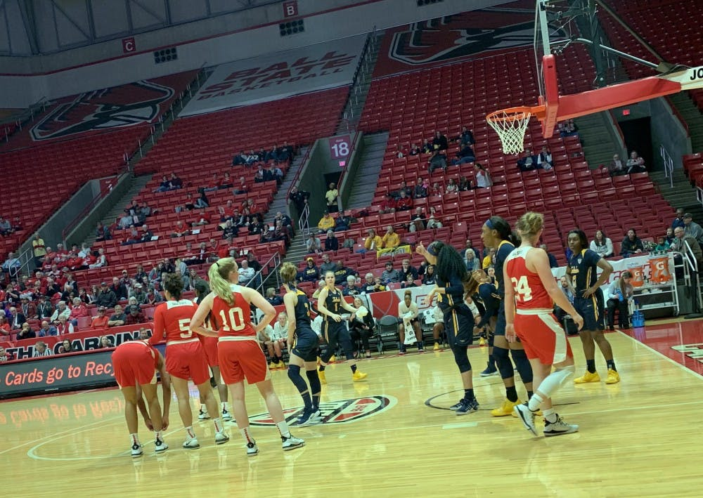 Ball State and Toledo players line up for a free throw attempt during a game on Feb. 23 at Worthen Arena. The Cardinals fell to the Rockets, 63-63. Daric Clemens, DN