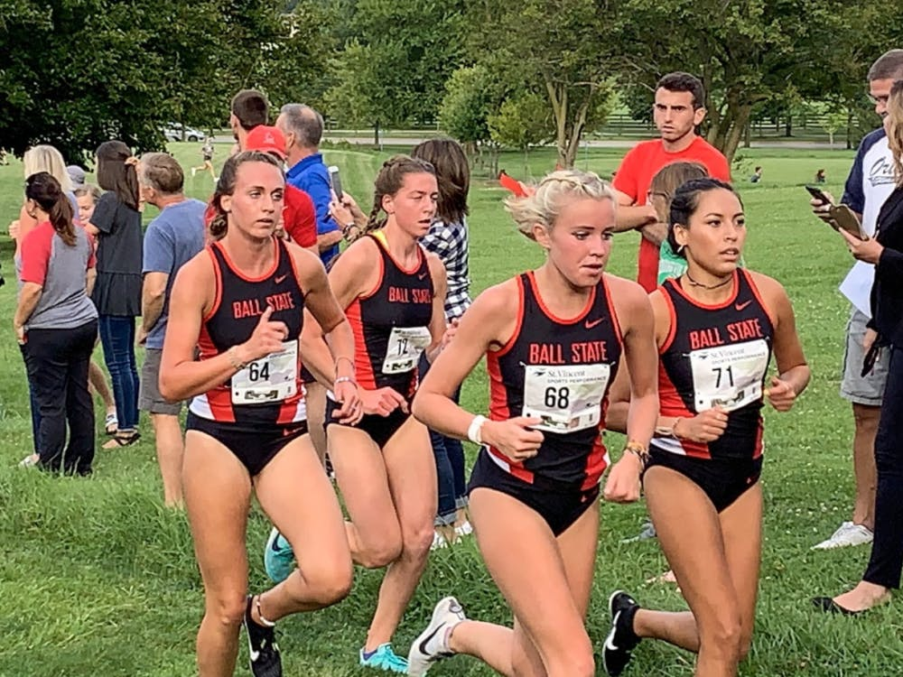 Karleigh Conner, Julianna Stoggsdill, Cayla Eckenroth, and Maritza Rodriguez run in the Butler Invitational in Carmel, Ind. The team will hope to replicate its strong finishes in its previous meets this weekend at the Cardinal Classic.