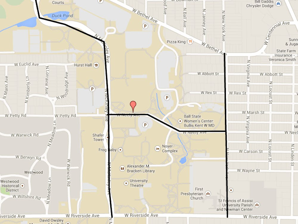 This map shows the roads closed following a report of an armed assailant at the Student Recreation and Wellness Center. COURTESY OF GOOGLE