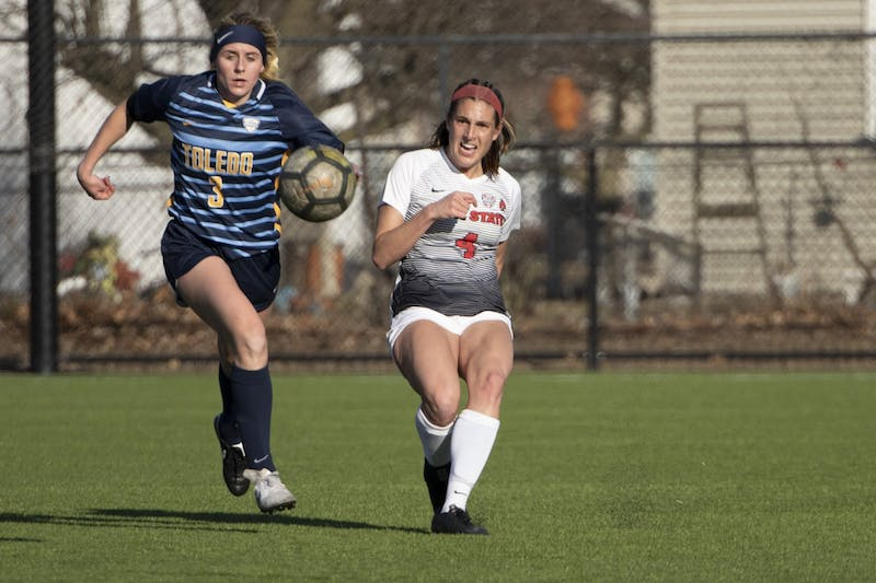 Cardinals senior defender Shelby Kean kicks the ball during the second half during Ball State's home season opener against the Toledo Rockets March 4, 2021, at Briner Sports Complex. The Cardinals beat the Rockets 2-0. Jacob Musselman, DN