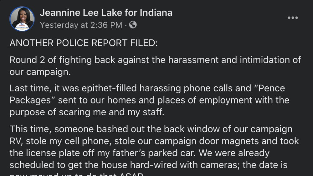 Congressional Candidate Jeannine Lee Lake's Facebook post concerning recent damages to her property.
