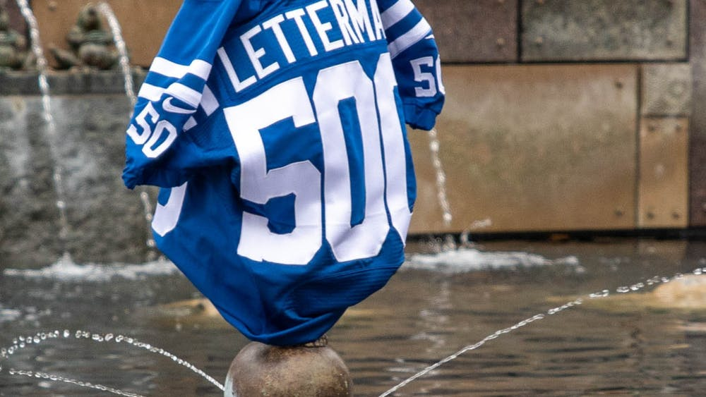Colts Letterman jersey sits on Frog Baby statue Oct. 20, 2020, at Ball State University. Ball State Alumnus David Letterman and former Indianapolis Colts quarterback Peyton Manning were seen filming on campus by Frog Baby and at Scheumann Stadium. Jaden Whiteman, DN