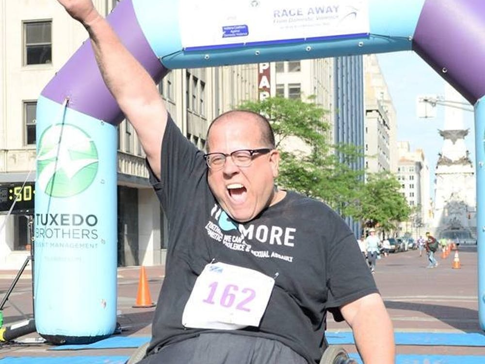 Richard Propes finishes the Race Away From Domestic Violence 5K race on April 28, 2018. Every year, Propes tries to participate in as many awareness events as possible alongside his Tenderness Tours. Richard Propes, Photo provided.