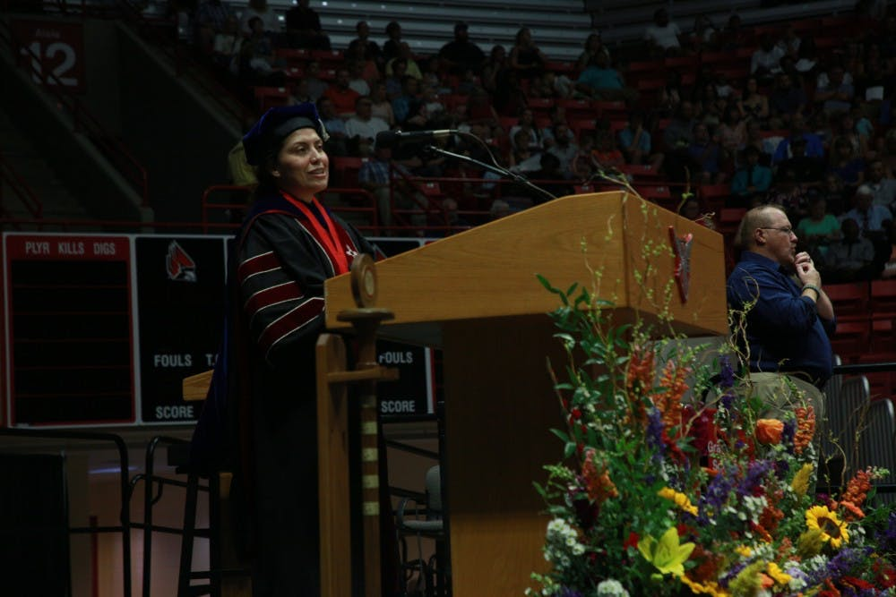 <p>Provost Susana Rivera-Mills speaks at the summer commencement ceremony July 20, 2019, at Worthen Arena. <strong>Rohith Rao, DN</strong></p>