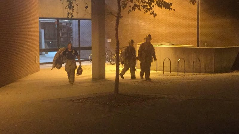 On Tuesday night, students and staff evacuated the College of Architecture and Planning due to smoke in a stairwell. Max Lewis, DN