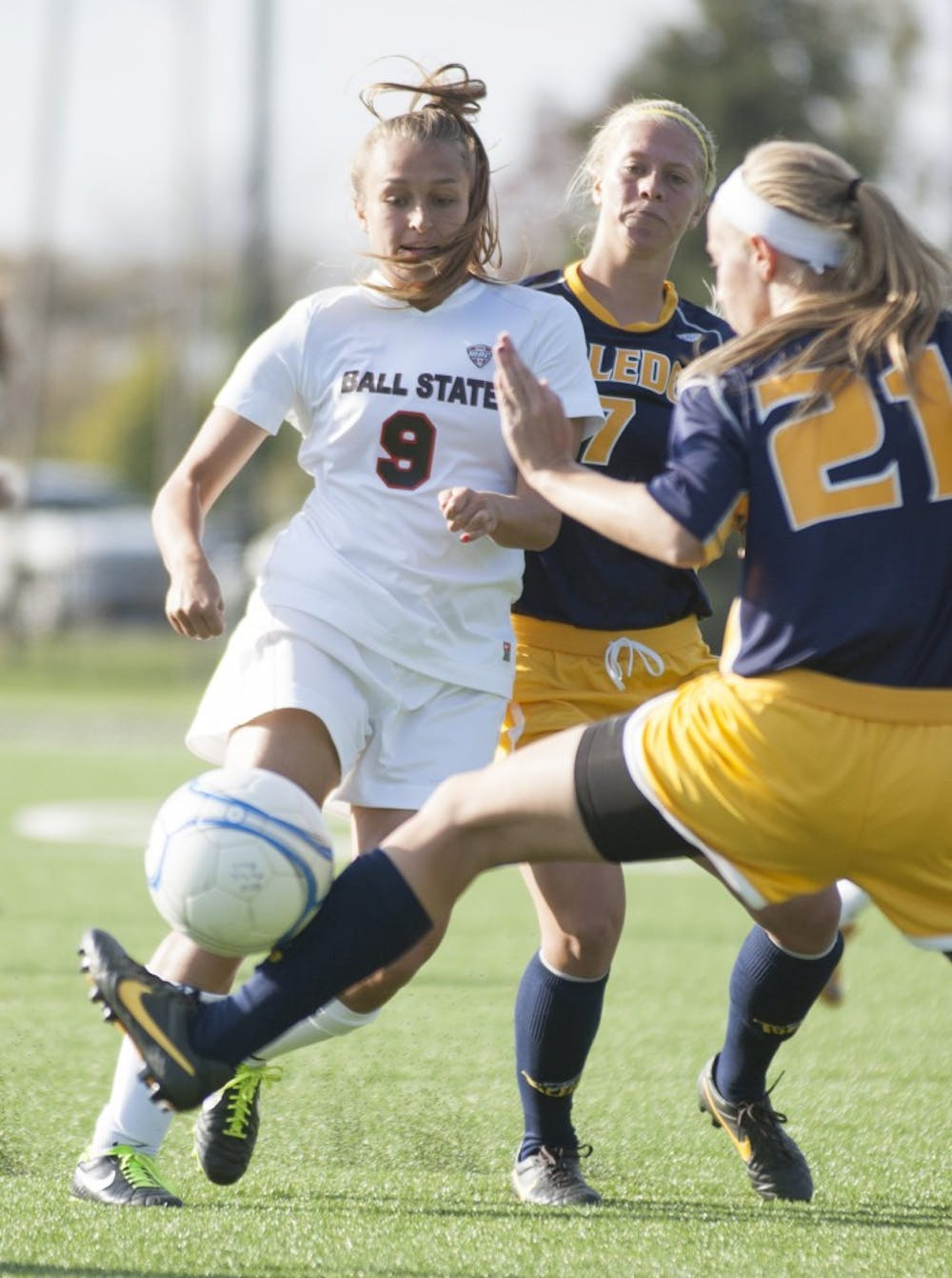 Junior forward Nicole Pembleton attempts to move the ball down past a Toledo defender in the match on Oct. 18 at the Briner Sports Complex. The team advanced to the Mid-American Conference semifinal match after winning against Central Michigan. DN FILE PHOTO MATT MCKINNEY
