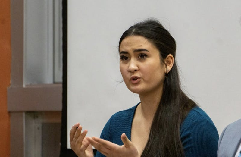 Miryam Bevelle campaigns for SGA president as part of the Aureum slate Feb. 13, 2020. Bevelle co-authored a resolution with Jordyn Blythe that will implement a mandatory implicit bias training for faculty and staff if passed in University Senate. John Lynch, DN
