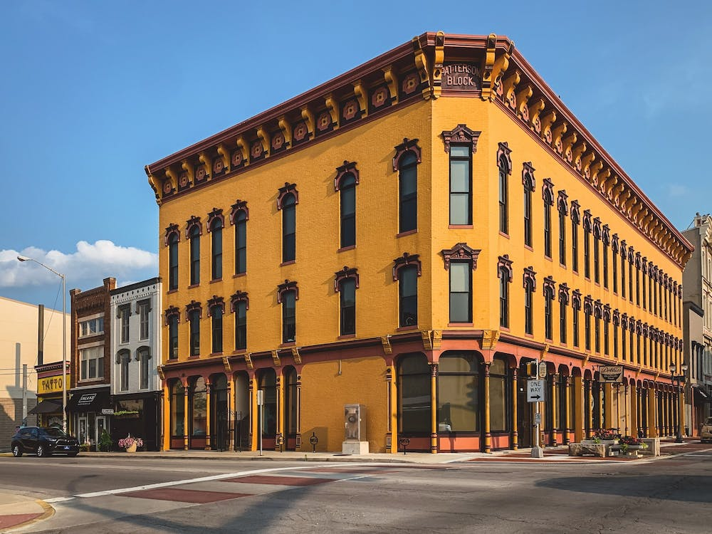 <p>The Patterson Block sits at the corner of Main and Walnut streets in downtown Muncie. Pink Leaf: A Learning Company bought the building in 2021 and it will host a grand opening Aug. 5. <strong>Matt Howell, Pink Leaf Learning, Photo Provided</strong></p>