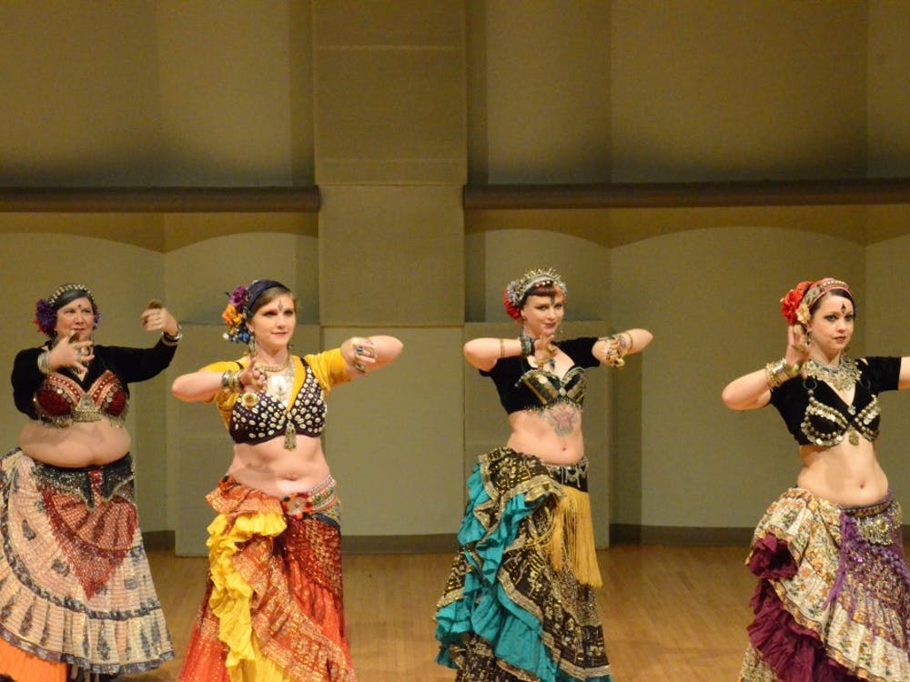 The dancers of Indy Tribal represent a more exotic form of belly dancing in their performance March 24, 2019, in Pruis Hall. Most belly dancing costumes have many jewels and colors which make them stand out. Kamryn Tomlinson, DN