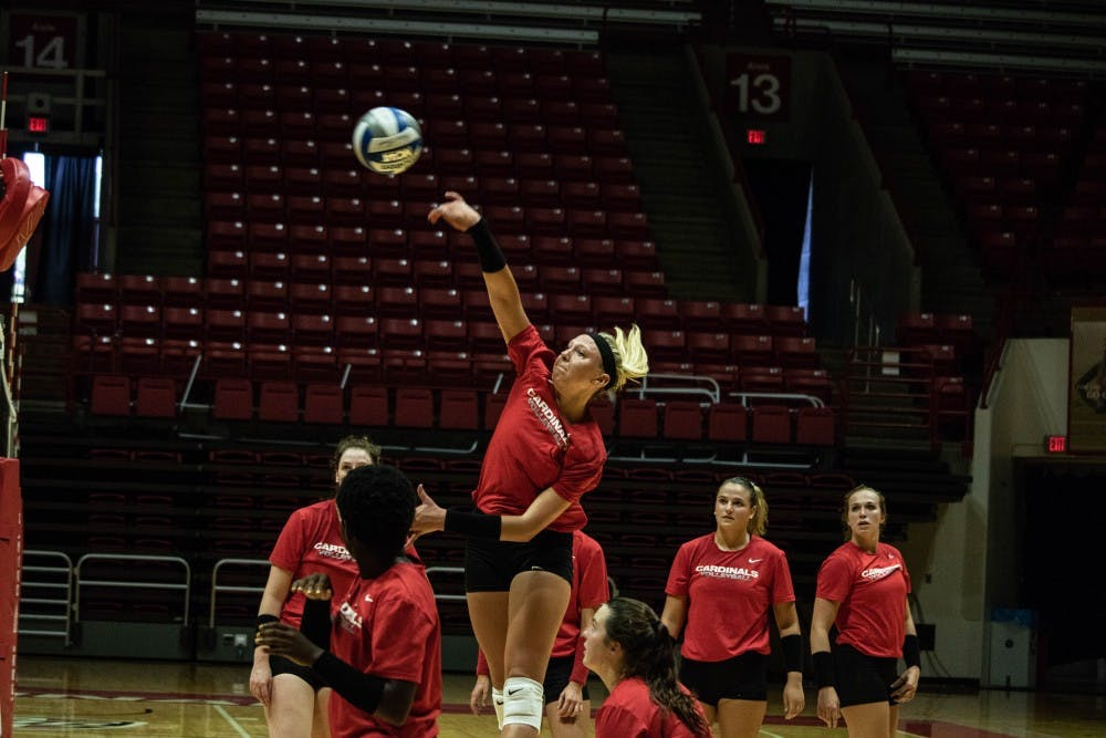 <p>The Ball State Women's Volleyball team practices Wednesday, Sept. 5, 2018, at Worthen Arena. The team improved to 12-5 after going 2-0 last weekend. Rebecca Slezak,DN</p>
