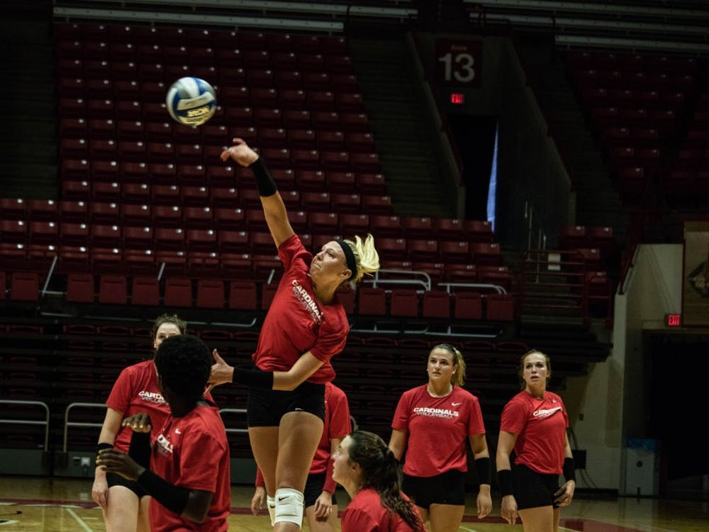 The Ball State Women's Volleyball team practices Wednesday, Sept. 5, 2018, at Worthen Arena. The team improved to 12-5 after going 2-0 last weekend. Rebecca Slezak,DN