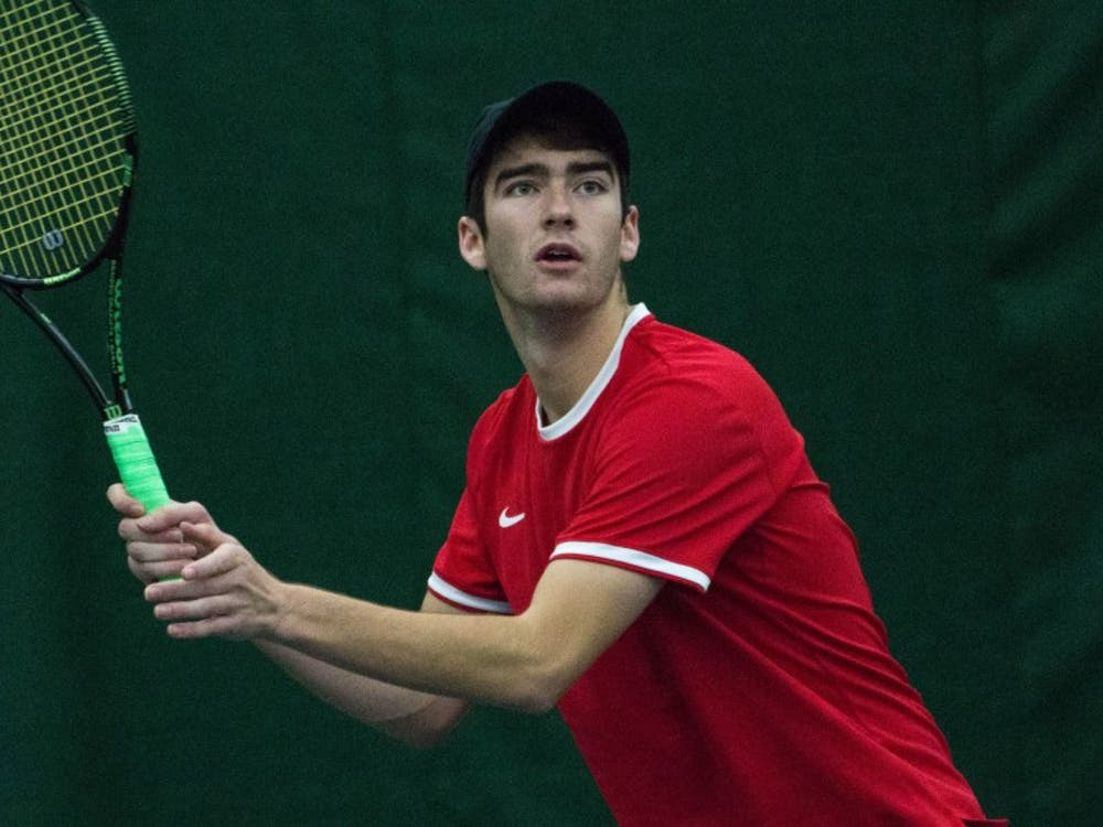 Senior Andrew Stutz won in straight sets during the match against Eastern Illinois' Jared Woodson on Jan. 22 at Muncie's Northwest YMCA. Stutz won both sets 6-1. Grace Ramey, DN File