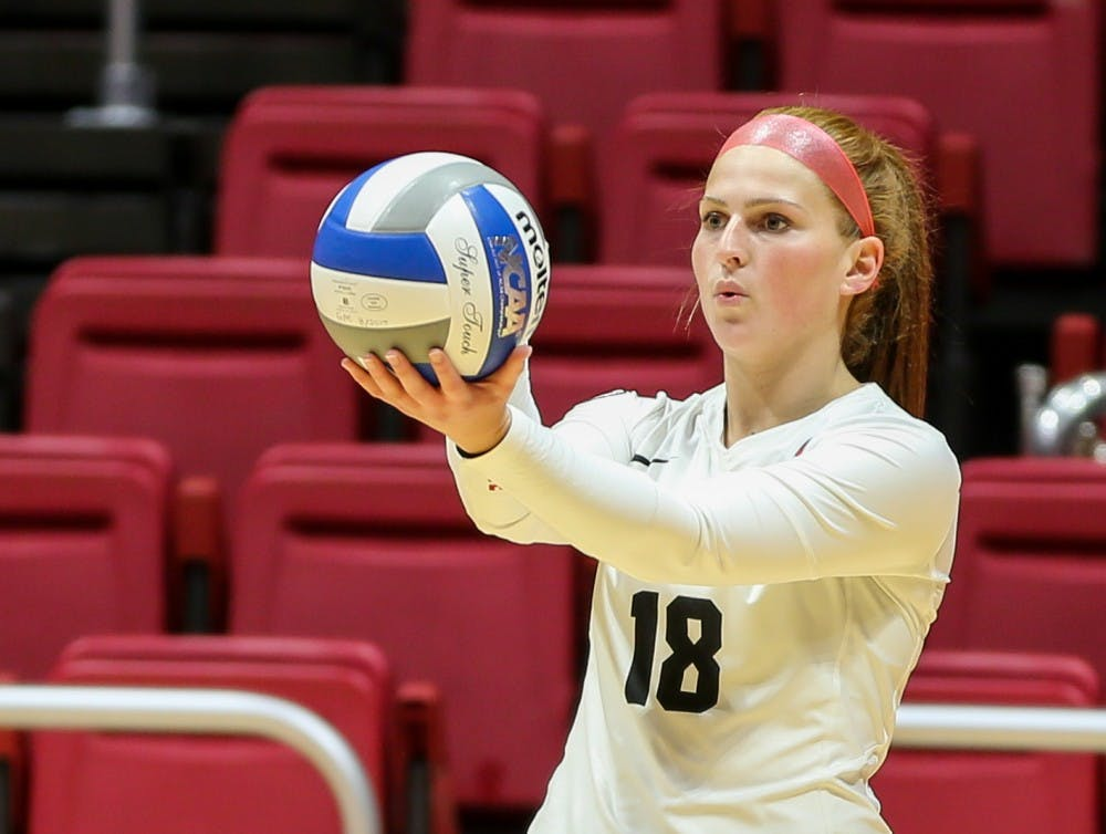 Junior defensive specialist Lauren Schreiner focuses her attention on the ball before setting it to Toledo on Nov. 2 at John E. Worthen Arena. The Ball State women's volleyball team had nine total service aces. Elliott DeRose, DN File
