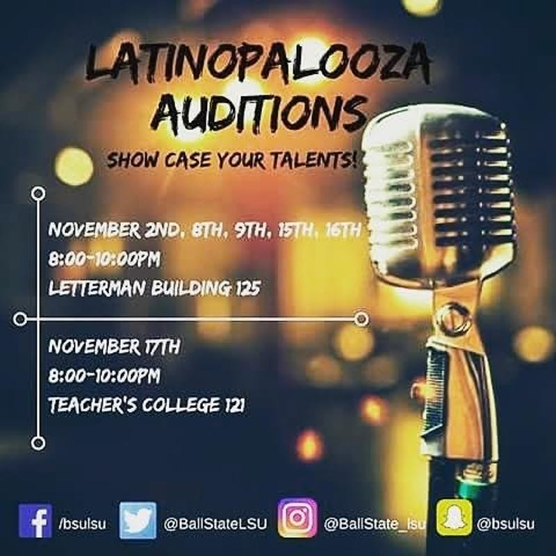 TheLatinx Student Union wrapped up auditions for itsannual Latinopalooza talent show Nov. 17. The show, which allows students to broadcast their talents, will take place in theL.A. Pittenger Student Center Ballroom Jan. 20, during Unity Week.LSU Facebook // Photo Courtesy