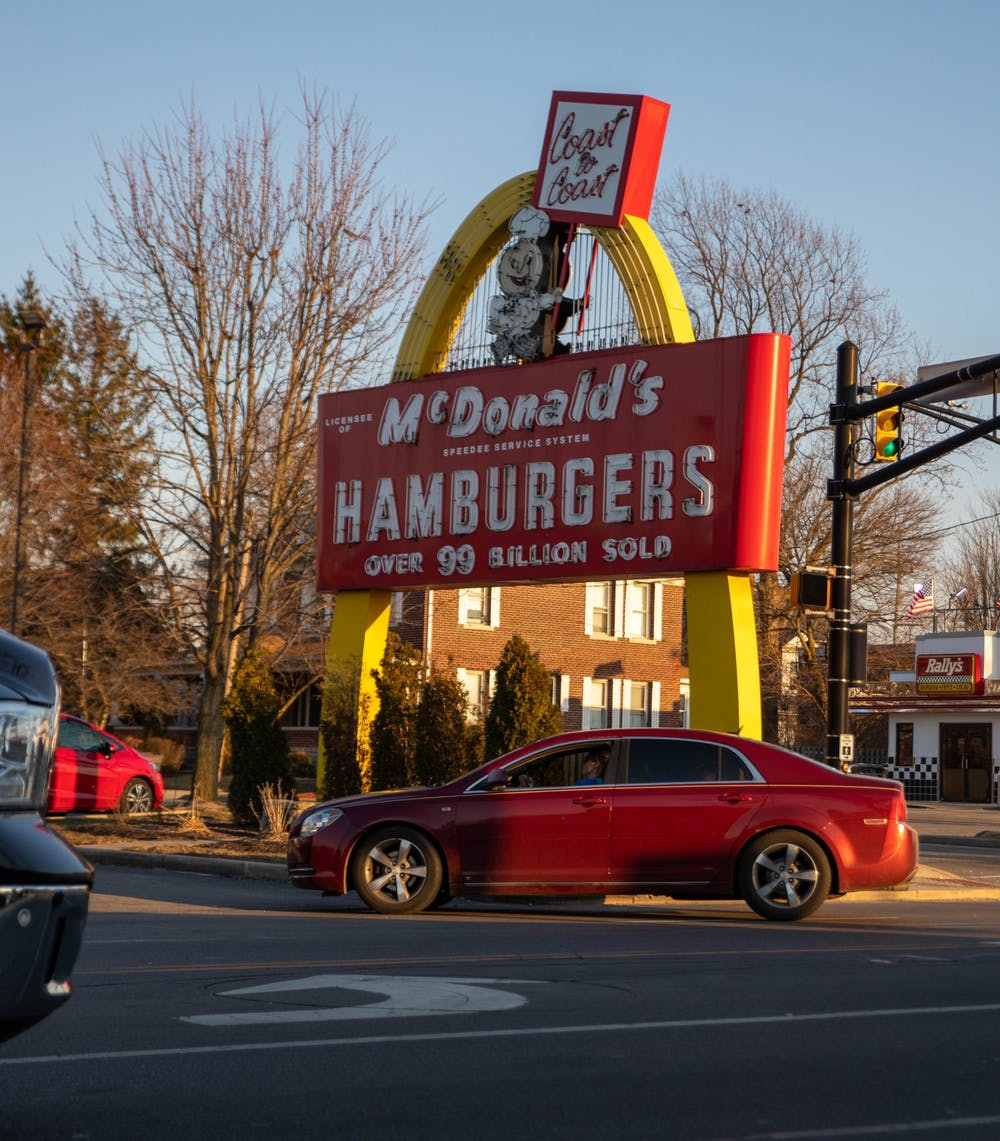 <p>The original golden arch sign sits in front of the East Charles Street McDonald&#x27;s in Muncie, March 9, 2021. The sign was installed in 1958 when the building opened. <strong>Jaden Whiteman, DN</strong></p>