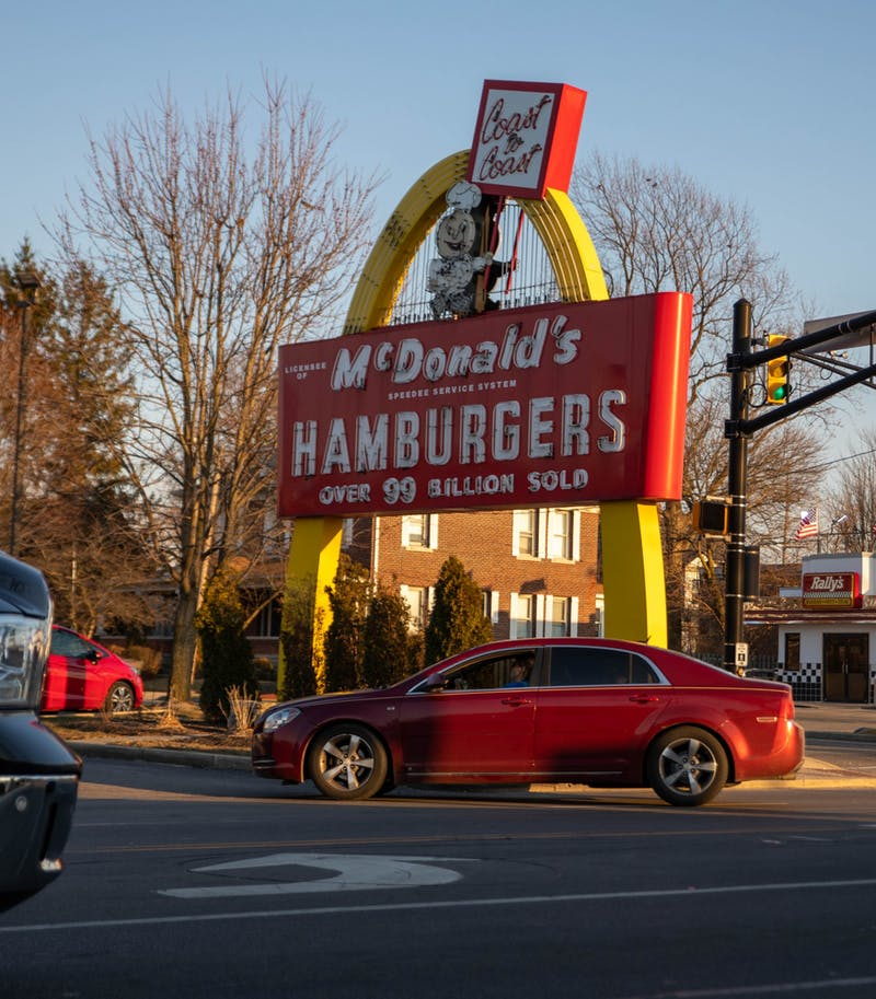 The original golden arch sign sits in front of the East Charles Street McDonald's in Muncie, March 9, 2021. The sign was installed in 1958 when the building opened. Jaden Whiteman, DN