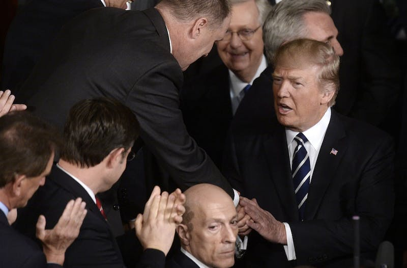 U.S. President Donald J. Trump delivers his first address to a joint session of Congress on Tuesday, Feb. 28, 2017 at the Capitol in Washington, D.C. (Olivier Douliery/Abaca Press/TNS)