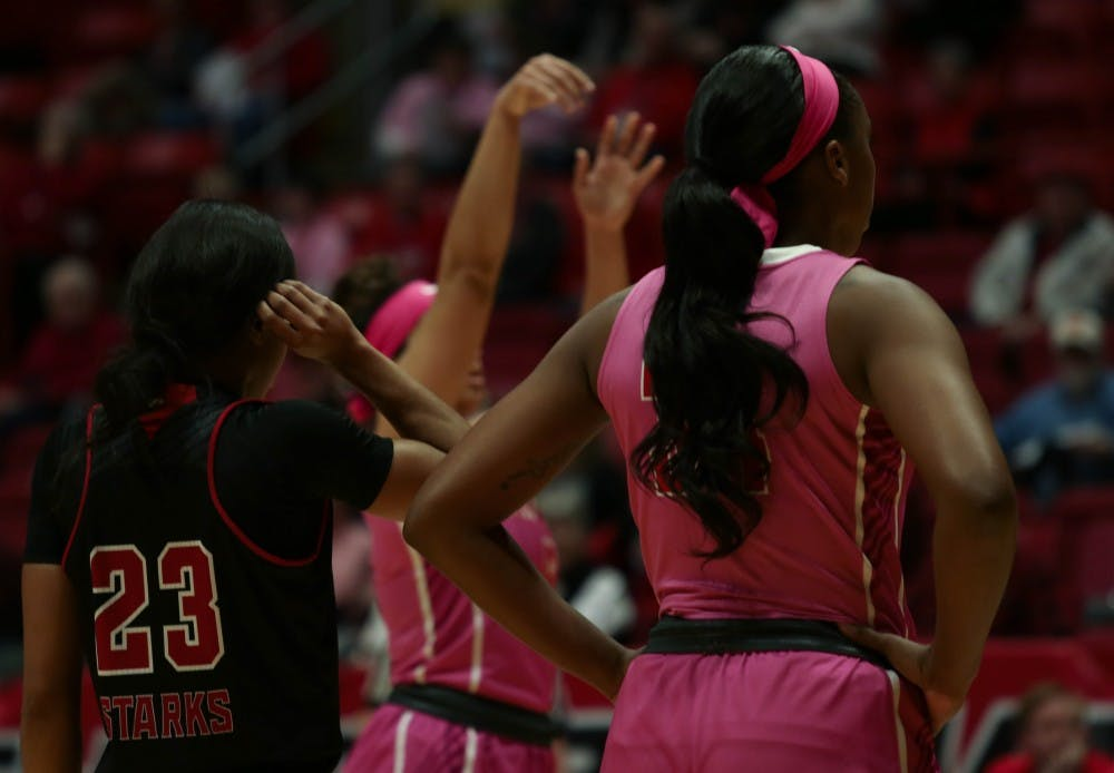Junior forward Aliyah Walker watches as a teammate throws from the free-throw line in John E. Worthen Arena Feb. 9, 2019. The Cardinals lost to Northern Illinois 93-83. Scott Fleener, DN