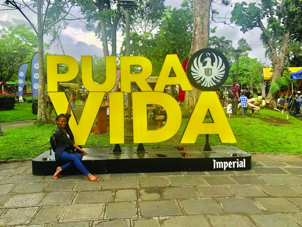 "Senior exercise science major Edlecia Ward found several ""Pura Vida"" signs while she was studying abroad in San Jose, Costa Rica in summer 2019. Translating to ""pure life,"" Ward said the phrase ""pura vida"" had such an impact on her that she tattooed the phrase onto her calf. Edlecia Ward, Photo Provided."