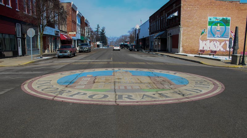 The Knox city center is decorated with a painting of the Starke Circuit Court Feb. 16, 2020, in Knox, Indiana. Jaden Whiteman, DN