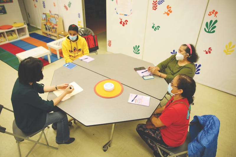 Assistant Teaching Professor Susan Luo teaches to (from left to right) Sultan Aladwan, Matilde Mata and Selma Seemann, Oct. 5, in the Ross Community Center. Aladwan is originally from Jordan and has lived in Muncie for one month. Rylan Capper, DN