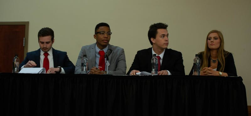 Empower's candidates prepare for the Ball State 2019 Student Government Association's (SGA) final All-Slate Debate March 11, 2019, in the L.A. Pittenger Student Center. Empower received two more fines for voting day violations committed Feb. 24, 2019. Scott Fleener, DN