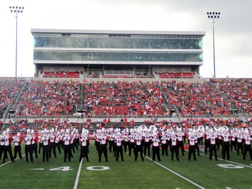 Ball State Pride of Mid-America marching band performs during halftime of the Cardinals' game against Tennessee Tech on Sept. 16 at Scheumann Stadium. The game held the largest recorded attendance in over three years for the program. Paige Grider, DN File