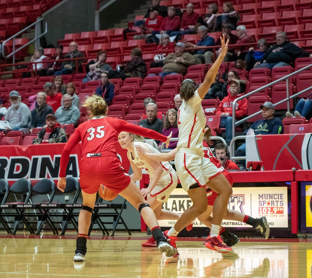 <p>Sophomore forward Thelma Dis Agustsdottir runs towards the paint, Jan. 25, 2020, in John E. Worthen Arena. Dis Agustsdottir scored 19 points against the RedHawks. <strong>Jaden Whiteman, DN</strong></p>