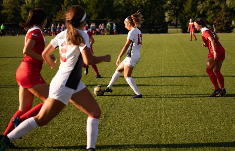 Senior midfielder Julia Elvbo dribbles the ball during the game Aug. 28, 2019, at Briner Sports Complex.  Ball State defeated Illinois State, 1-0. Rebecca Slezak,DN