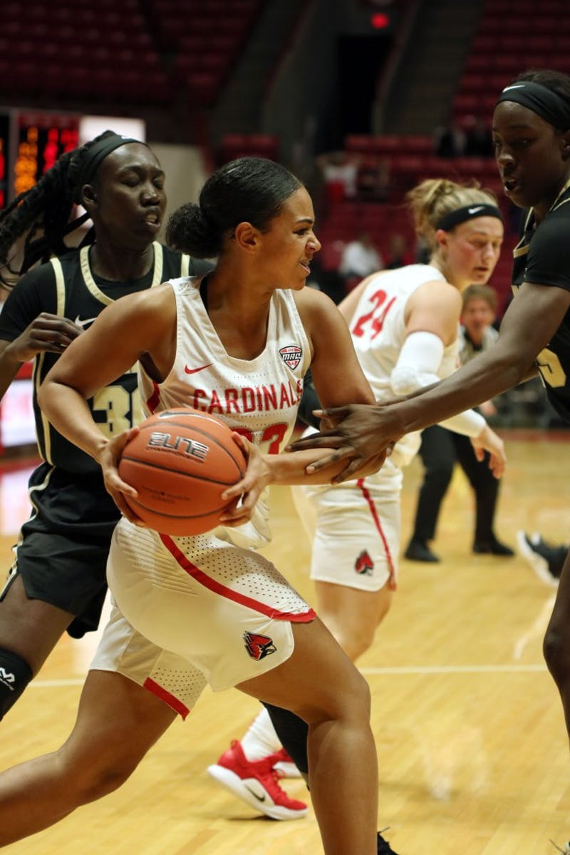 Senior Guard Nakeya Penny pushes through the defense  at the Ball State vs Purdue Womens Basketball game Wednesday Nov. 7th at Worthen Arena. The Cardinals lost to the Boilermakers 38-80. Jacob Haberstroh,DN.
