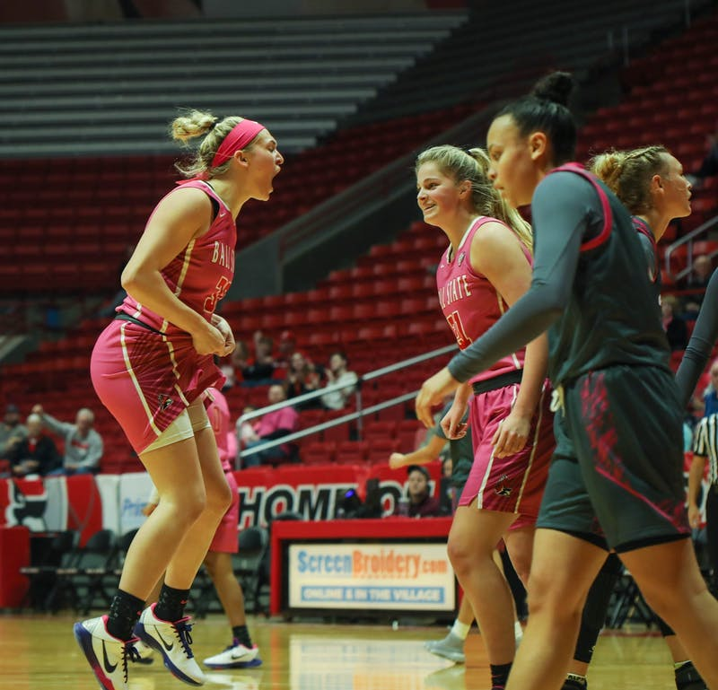 Redshirt freshman guard Anna Clephane celebrates after she scored to tie the game up at 40-40 Feb. 8, 2020, at John E. Worthen arena. Ball State won 60-52 against Akron. Jaden Whiteman, DN